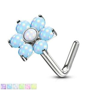 Illuminating Stone Flower Top Surgical Steel L Bend Nose Stud Ring