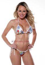 Red & Blue Floral Side-Tie Micro-Thong Bikini/Stripper/Model/Made in usa/m-l