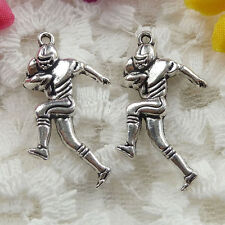 Free Ship 52 pieces Antique silver football player charms 29x16mm  #020