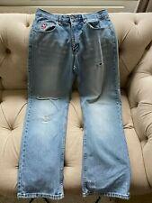 """Men's vintage retro pale blue ripped denim jeans Le Coq Sportif 32"""" waist & leg"""