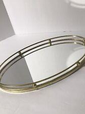 New ListingVtg Oval Dresser Vanity Mirror Perfume Tray Gold Tone Rails 13x8 Felted Bottom