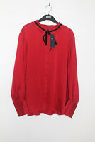 Ladies M&S Size 18 Frill Neck Red Blouse with Velvet Neck Tie