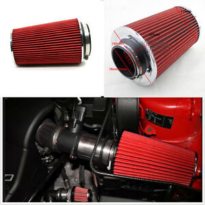 Universal Red 3' Air Intake Cone Long Ram Filter Turbo Vent Crankcase Breather