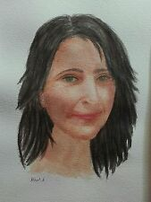 Acuarela original,de Robert A, en papel Arches de 300g retrato watercolour mujer