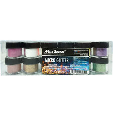 Mia Secret Nail Art Acrylic Professional Powder 12 Colors Set - Micro Glitter