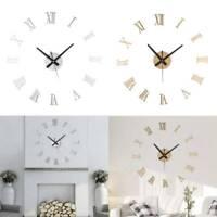 3D DIY Large Wall Clock Roman Numerals Luxury Mirror Sticker Home Decor Kid Room