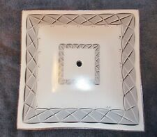 GRAY WHITE & CLEAR GLASS CEILING  SHADE  11 3/4  X  11 3/4