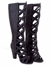 MICHAEL ANTONIO Black Criss Cross JASSLYN Knee High Back Zip Boot Size 8 1/2