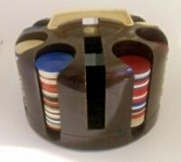 POKER CHIP SET IN A CAROUSEL Caddy Carrier VINTAGE