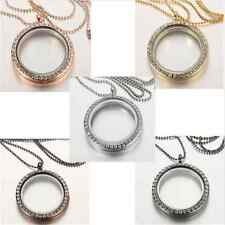 Vintage Living Memory Floating Charm Crystal Glass Round Locket Pendant Necklace