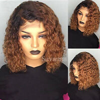 Short Curly Brazilian Full Lace Human Hair Wigs Lace Front Ombre Blonde Bob Wig