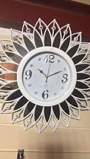 Mirrored Crystals Vintage Wall Clock White Romany Italian Style Gift UK
