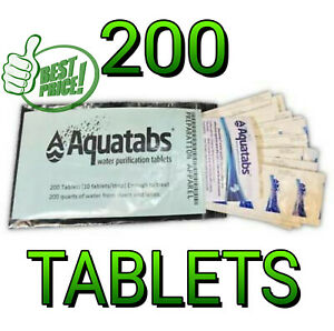 EMERGENCY WATER PURIFICATION Aquatabs 200 ct tablets Exp 7/2025
