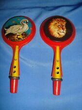 2 Old Vintage Tin Rattles Toys from Japan 1950