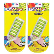 2 x Walls Ice Cream 3D Hanging Car Air Freshener Scent Smell TWISTER - Tropical