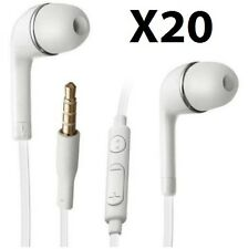 Lots 20 White Headset Earphones Mic Remote Control For Samsung Galaxy S5 S4 S3