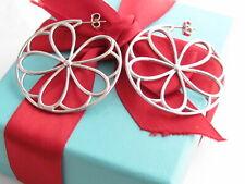Auth Tiffany & Co Silver Petal Petals Large Hoop Earrings