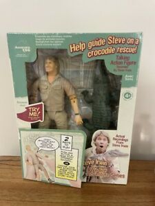 STEVE IRWIN COLLECTABLE WILD LIFE SERIES TALKING ACTION FIGURE WITH CROCODILE.