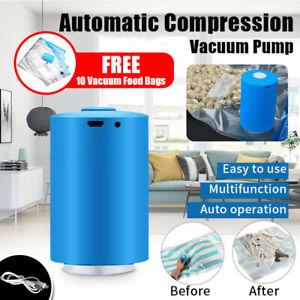 Mini Automatic Compression Air Pump Portable USB Sealer + 10 Reusable Vacuum Bag