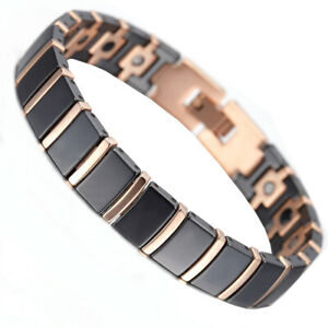 Rose Gold Tungsten Black Ceramic Energy Bracelet Medical Magnets Therapy Health