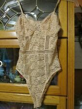 Nos Vintage Peach Beige Lace Teddy Small Charlotte Russe Lingerie Sexy