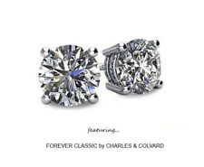 3.00 Carat Moissanite Forever Classic Stud Earrings 14K Gold