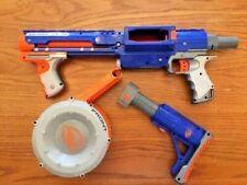Nerf Blue Rampage Dart Pump Blaster Rifle  & 35 Dart Drum Clip Magazine & Stock