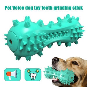 Pet Dog Squeaky Chew Toys Aggressive Chewer Indestructible Tough Rubber Bone UK