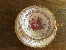 Beautiful Vintage Paragon Pink Rose & Gold Guilt Patterned Tea Cup & Saucer