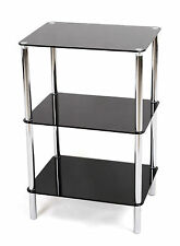 BLACK GLASS 3TIER SIDE/END/COFFEE LAMP TABLE 4 HOME/LOUNGE/BEDROOM/STUDY