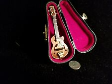 """1:12 Dollhouse Miniature ~  Beautiful wood Guitar and case  3 - 1/8""""  New!"""