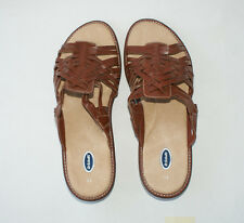 Dr Scholls Womens Brown Woven Leather Casual Slides Sandals Shoes 11M