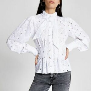 River Island UK 12 White Broderie Anglaise Tie Neck Pearl Blouse Shirt Romantic