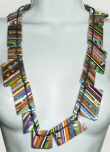 Sobral Pop Art Optical Australiano Day Stripe Large Bead Artist Made Necklace