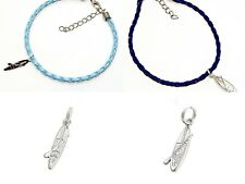 SUP Sterling Silver Charm Anklet Bracelet Stand Up Paddle Board Faux Leather