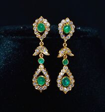 CERTIFIED NATURAL 6.7CTS VS F G DIAMOND EMERALD 18K SOLID GOLD DANGLE EARRINGS