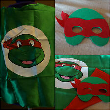 TMNT KIDS CAPE AND MASK RAPHAEL RED TEENAGE MUTANT NINJA TURLTLE COSTUME