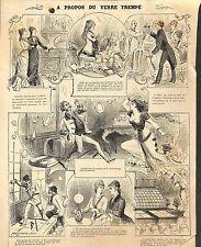 PARIS LE VERRE TREMPE PUBLICITE ADVERTISINS GRAVURE ENGRAVING 1880