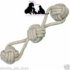 Denta Fun Dogs | Puppy Play Tug Throw Rope with Woven-in Balls 8 cm/37 cm Cotton