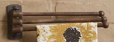 Kitchen Towel Rack Stained Wood 3 Prong Farmhouse Wall Decor