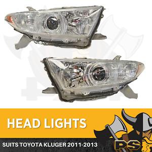Pair Headlights to suit Toyota Kluger 08/2010-12/2013 Head Lights Lamp Kit