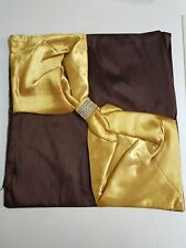 "Gold / Chocolate 18""x18"" Bo-Tie Faux Silk CUSHION COVERS"