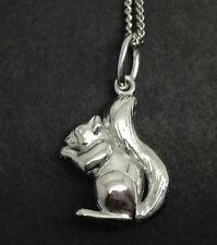 Squirrel 3-D Solid Sterling Silver Pendant, New, UK Seller, Chain. UK seller.