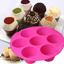 7 Cavity Cupcake Silicone Cake Muffin Chocolate Pudding Baking Tray Pan Mould