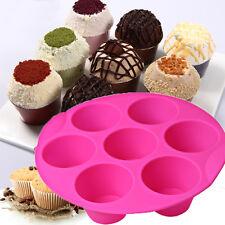 7 Holes Cupcake Silicone Cake Muffin Chocolate Pudding Baking Tray Pan Moud Tool