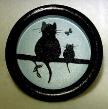 """Large Glass Dome Button Set in  Wood 2 Cats w/ Butterfly Shimmer Back Ground  2"""""""