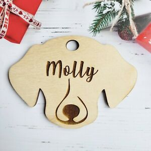 Personalised Christmas Bauble Gift Present 2021 Decoration Wood DOG BONE #A9