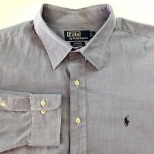 Polo by Ralph Lauren Shirt Andrew Blue White Tiny Gingham Plaid LS 17-1/2 36/37