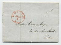 1844 Boston manuscript 1 cent drop rate stampless LKU [45.156]