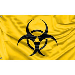Yellow Biohazard Flag Unique Design, 3x5 Ft / 90x150 cm size, EU Made